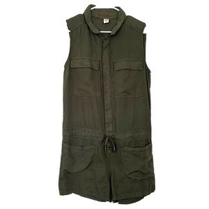 H&M Olive Green Sleeveless Button Down Romper